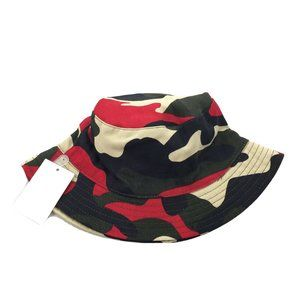 NEW Forever 21   Bucket Hat Red Black Camo Print